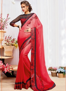 Charming Black and Red Embroidered Work Jacquard Contemporary Style Saree