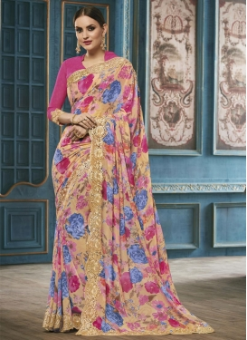 Charming Digital Print Work Contemporary Style Saree