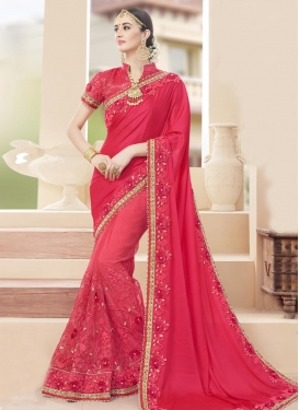 Charming Faux Georgette Beads Work Contemporary Saree