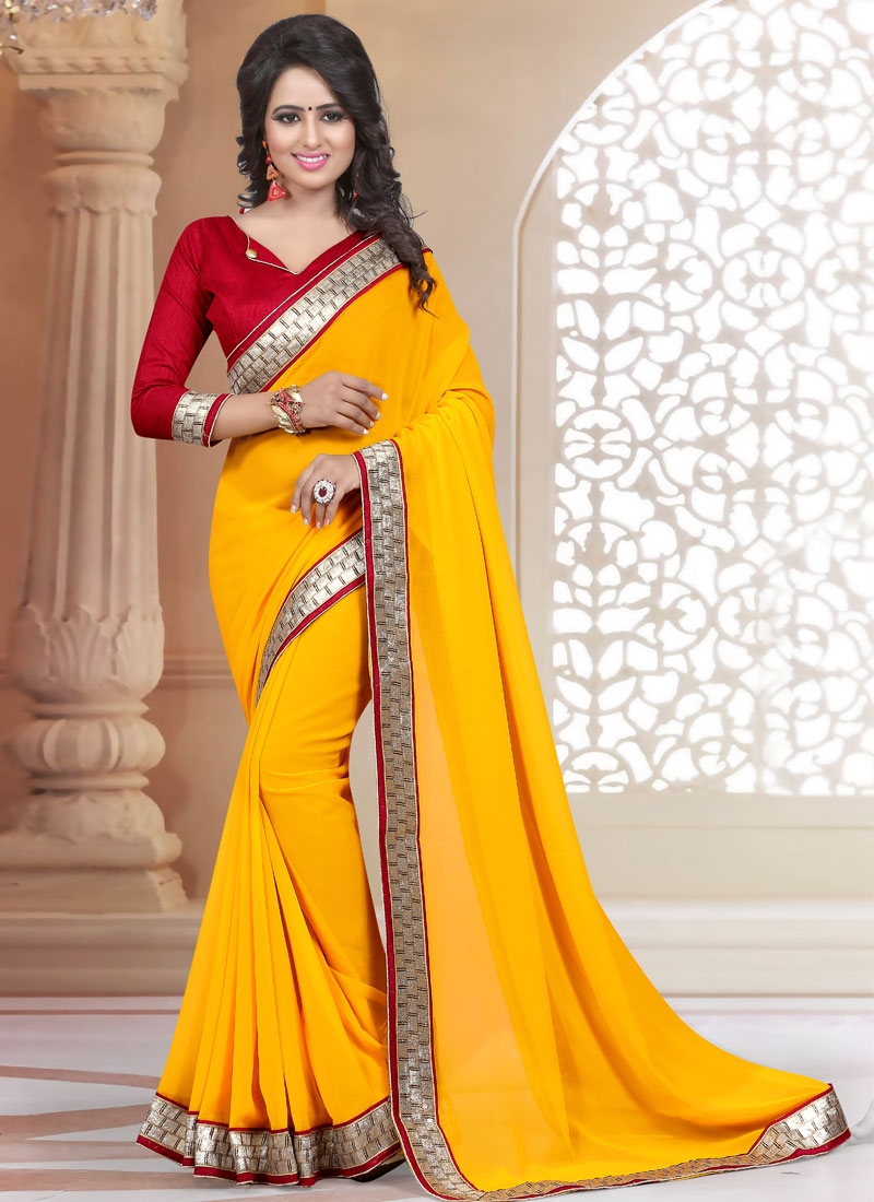 Charming Lace Work Faux Georgette Casual Saree