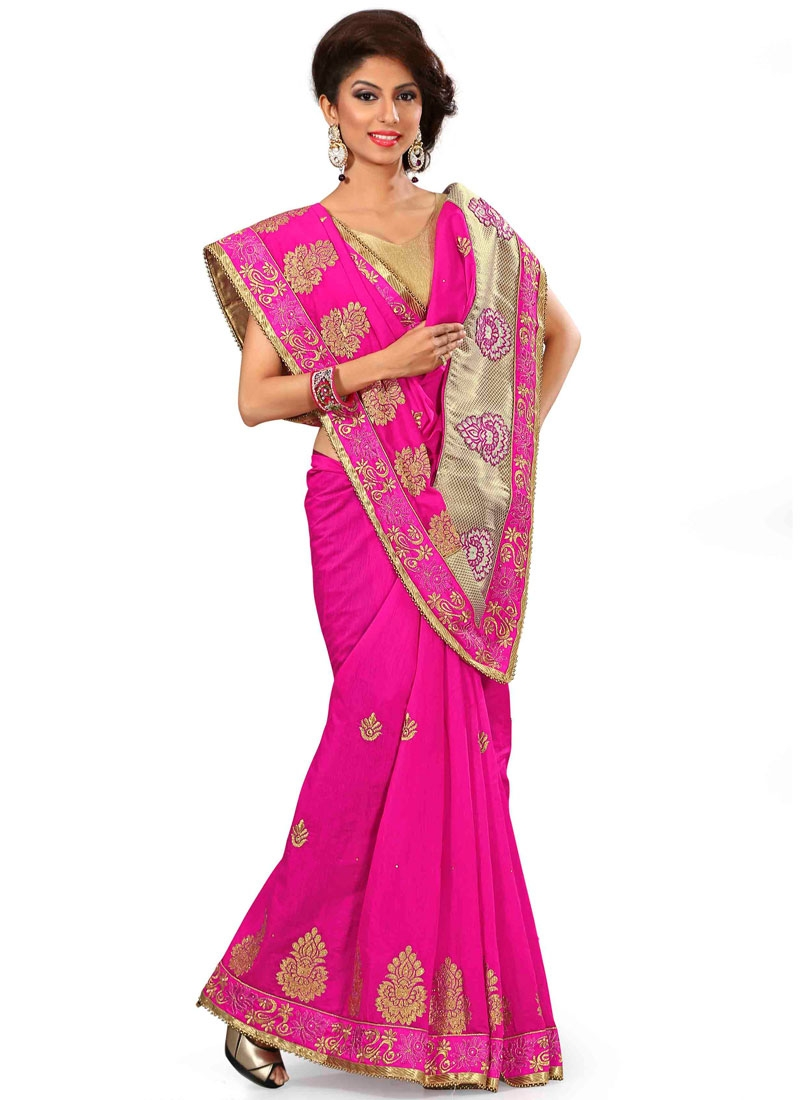 Charming Patch Border And Stone Work Designer Saree
