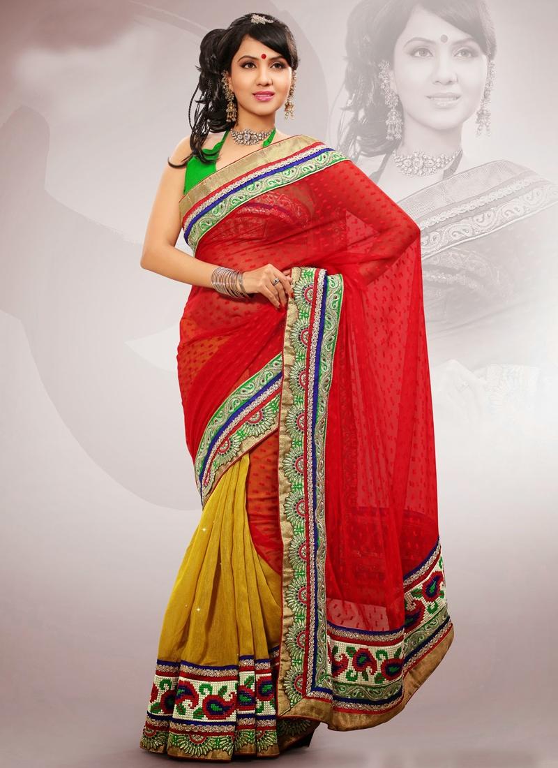 Charming Patch Enhanced Half N Half Saree