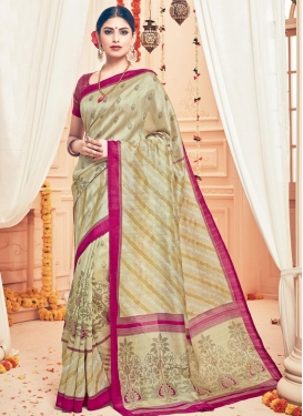 Charming Print Work  Art Silk Classic Saree