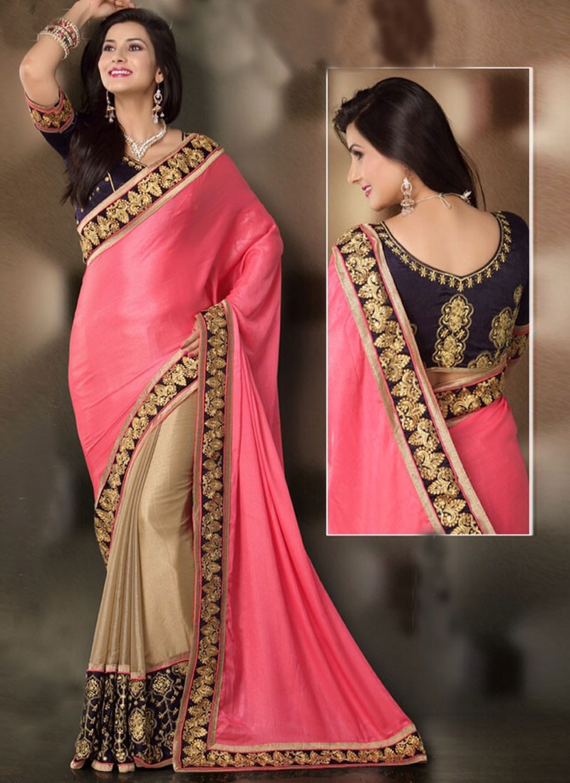 Charming Resham And Jaal  Work Half N Half Designer Saree