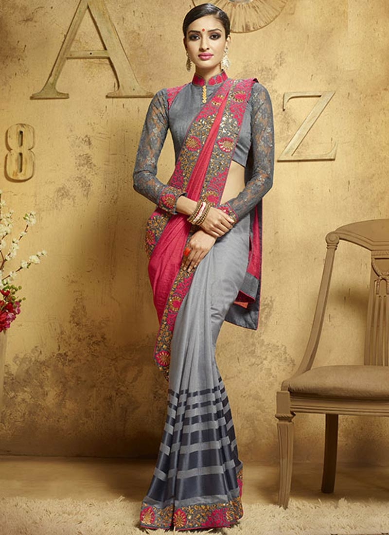 Charming Sequins Work Half N Half Party Wear Saree