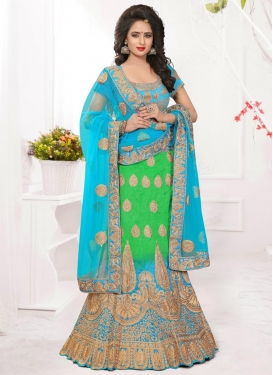 Charming Silk Light Blue and Mint Green Booti Work Trendy Designer Lehenga Choli