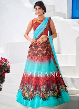 Charming Silk Red and Turquoise Trendy Designer Lehenga Choli