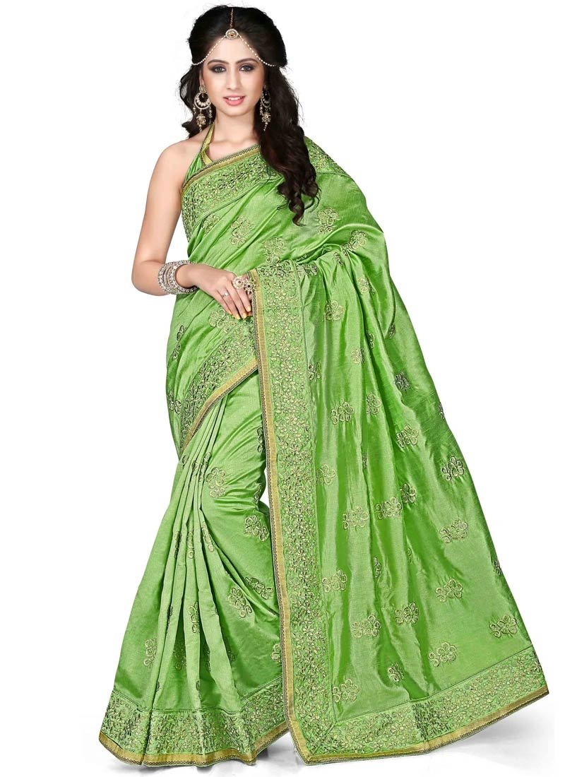 Charming Stone And Resham Work Party Wear Saree