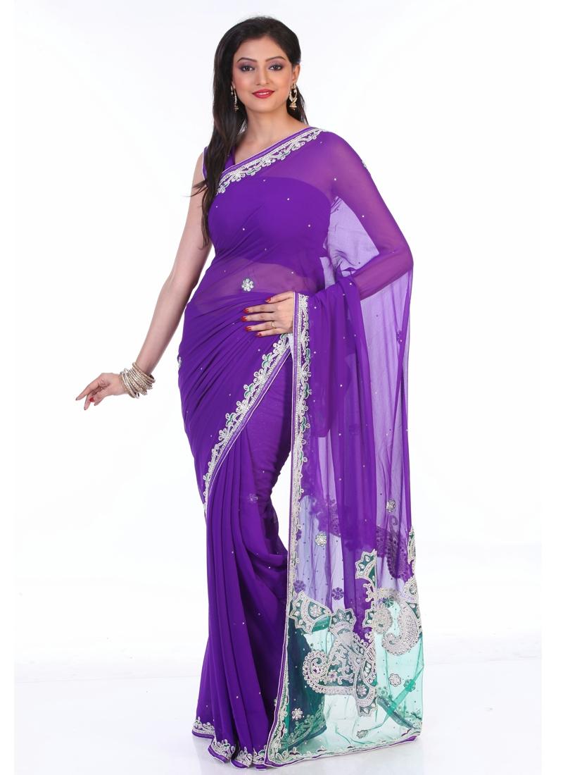 Charming Stone Enhanced Party Wear Saree