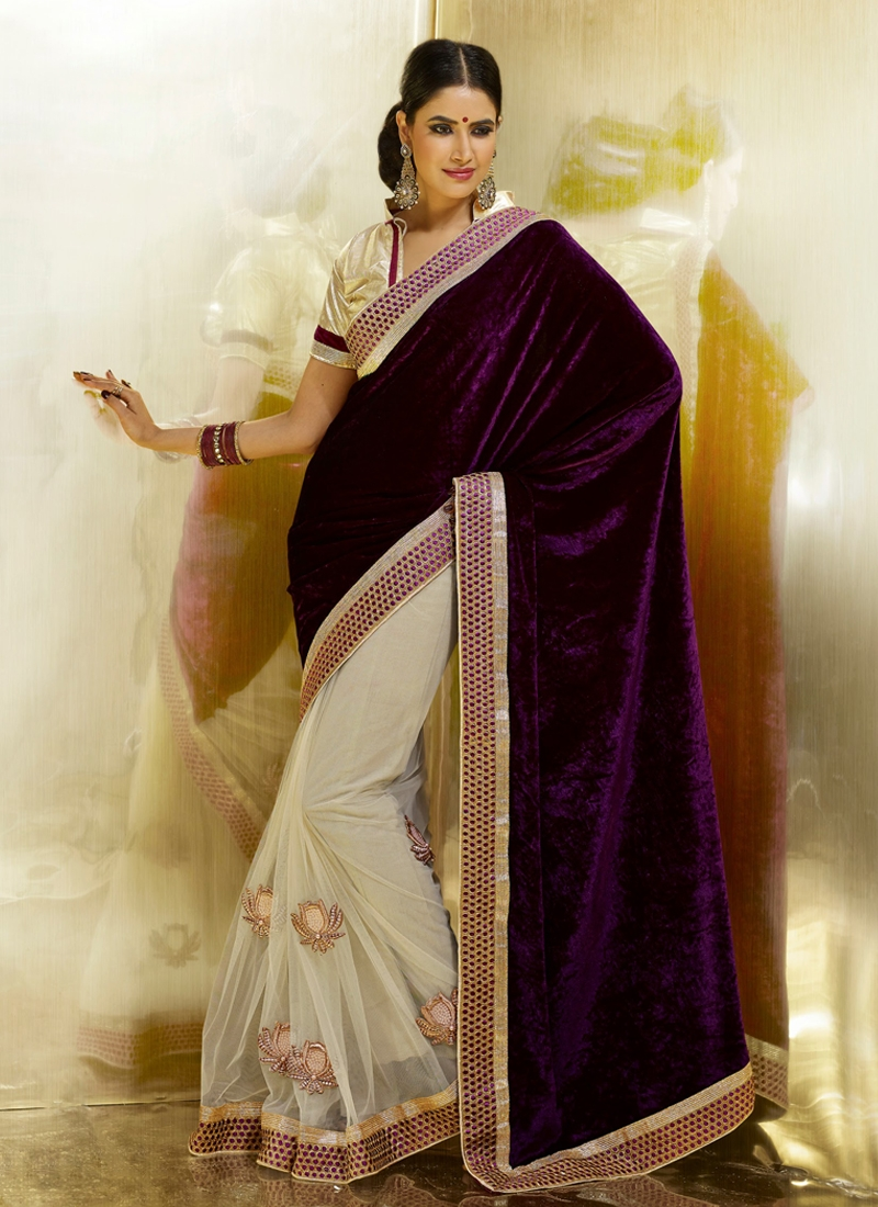 Charming Velvet And Net Half N Half Saree