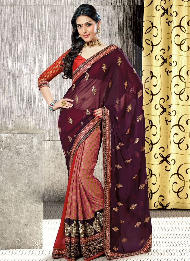 Charming Wine And Salmon Half N Half Saree