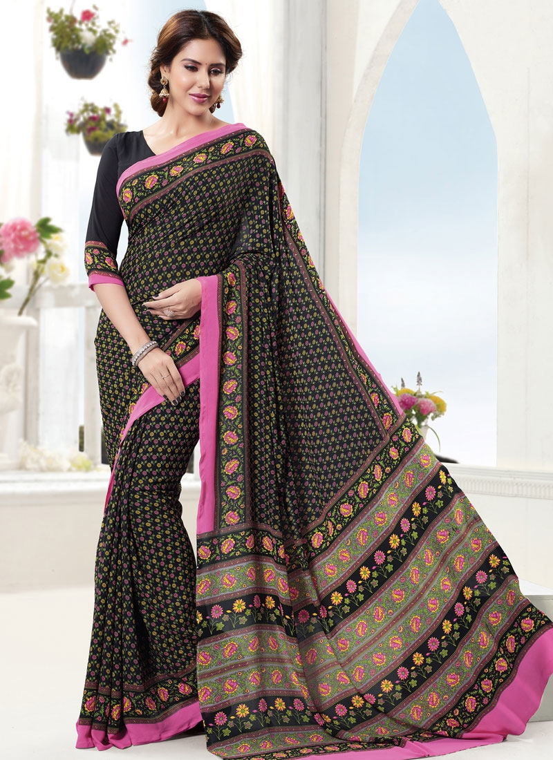 Cherubic Abstract Print Work Black Color Casual Saree
