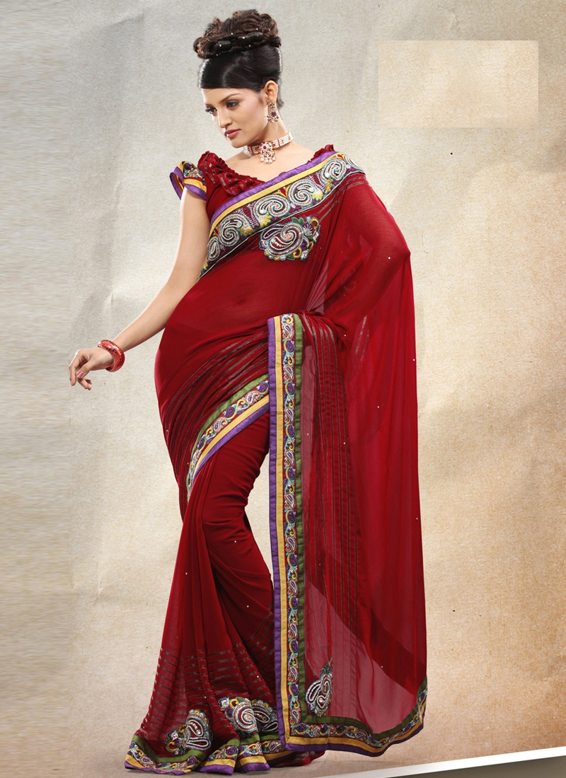 Cherubic Beads Work Georgette Party Wear Saree