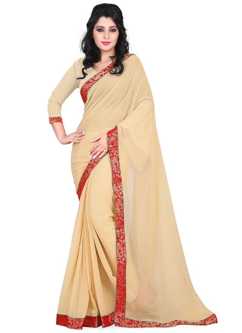 Cherubic Beige Color Lace Work Casual Saree