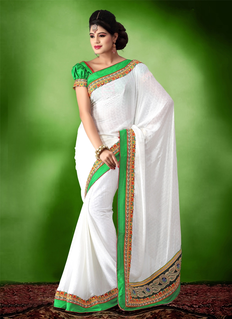 Cherubic Crepe Silk And Jacquard Party Wear Saree