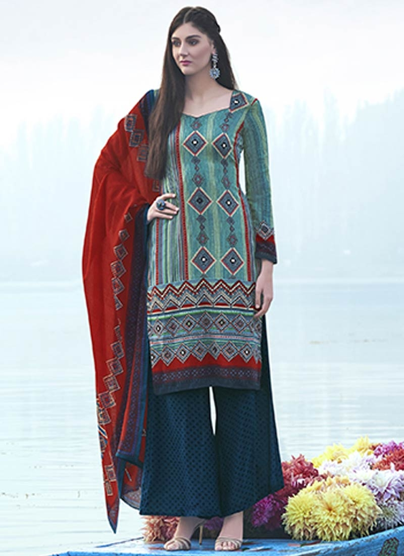 Cherubic Digital Print Work Palazzo Style Casual Suit