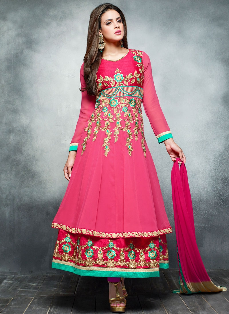 Cherubic Faux Georgette Double Layered Anarkali Suit b73531fbc