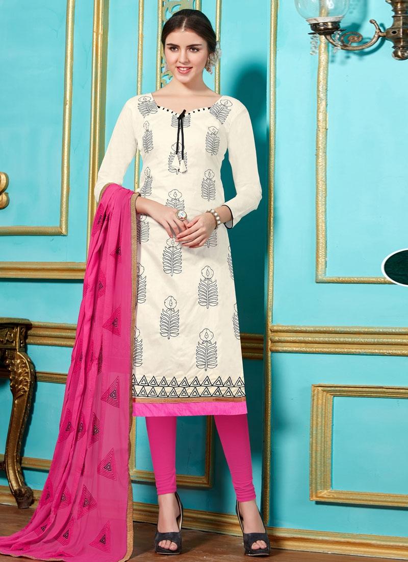 Cherubic Lace Work Cotton Churidar Salwar Kameez