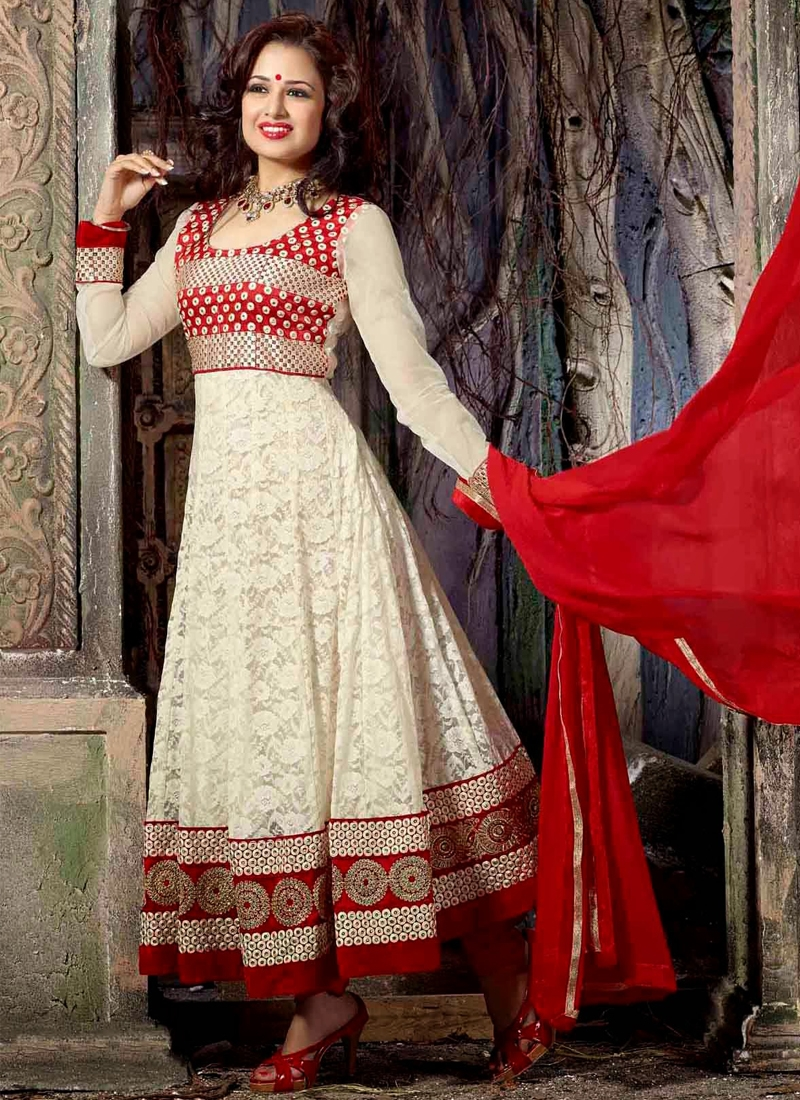 5b138eb1deee Cherubic Off White And Red Anarkali Suit
