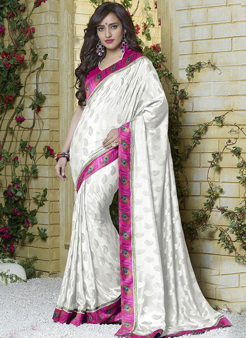 Cherubic Off White Color Neha Sharma Casual Saree