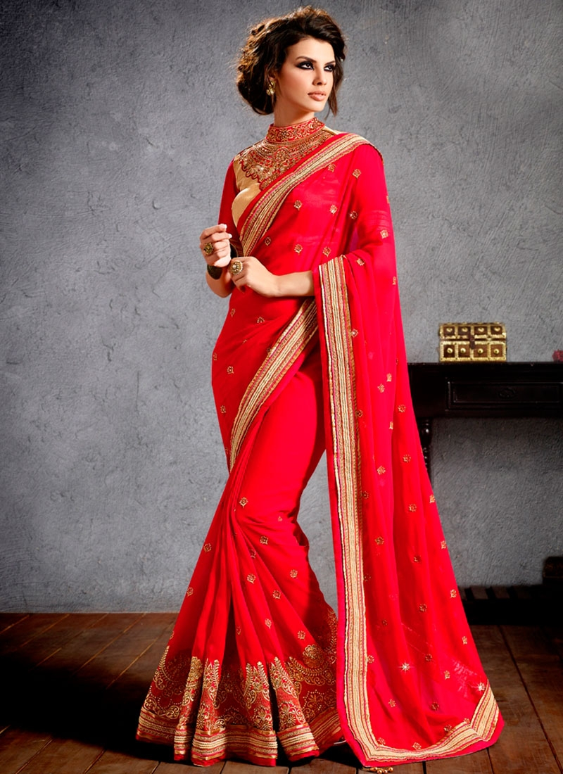 Cherubic Red Color Faux Georgette Wedding Saree