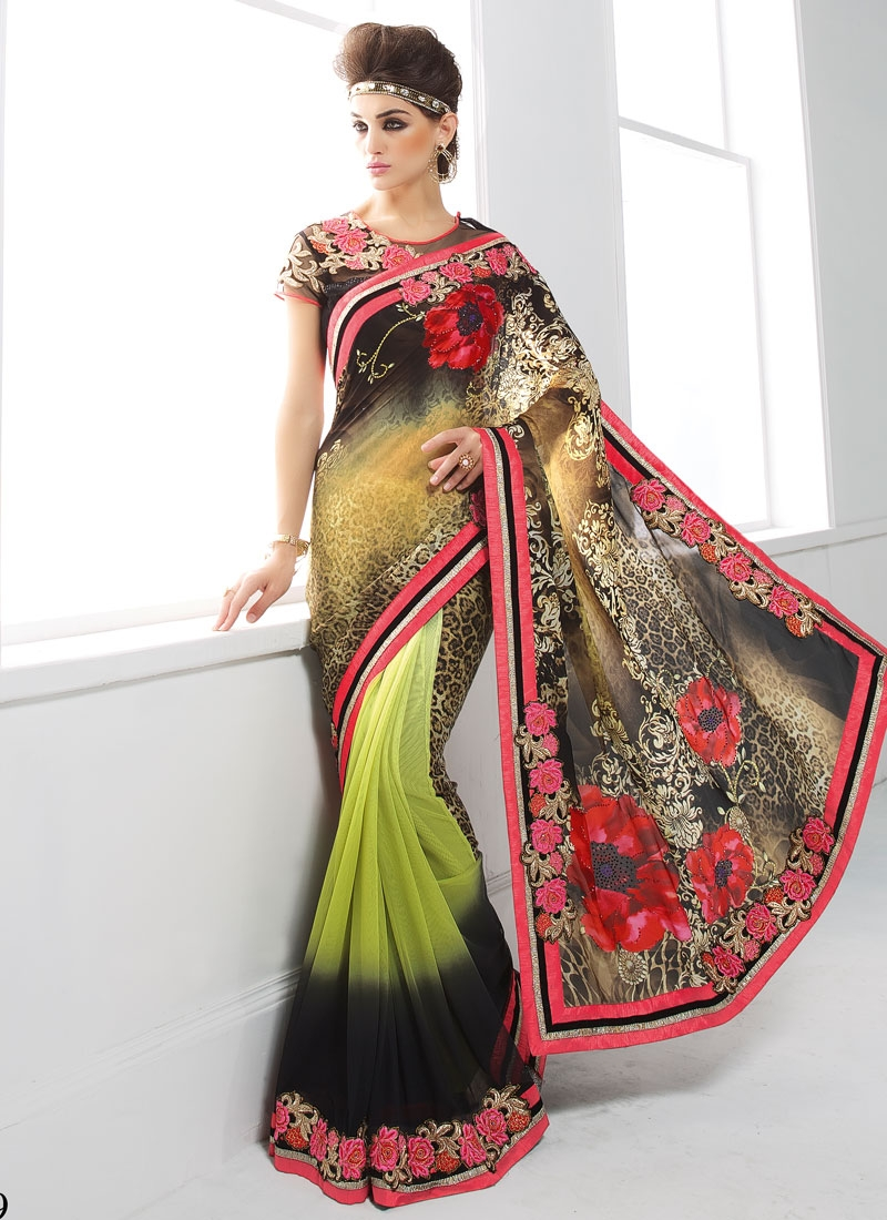 Cherubic Stone Work Half N Half Party Wear Saree