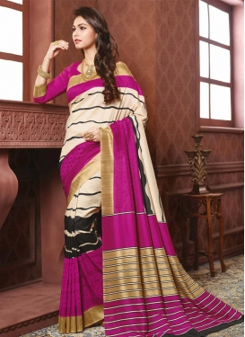 Cherubic Strips Print Work Black and Cream Classic Saree