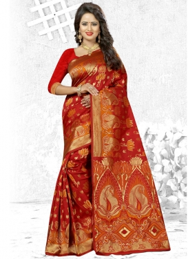 Cherubic Thread Work Traditional Saree