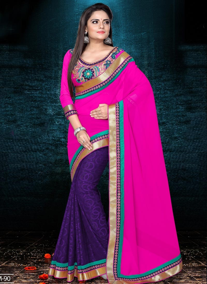 Chic Magenta and Violet  Half N Half Trendy Saree