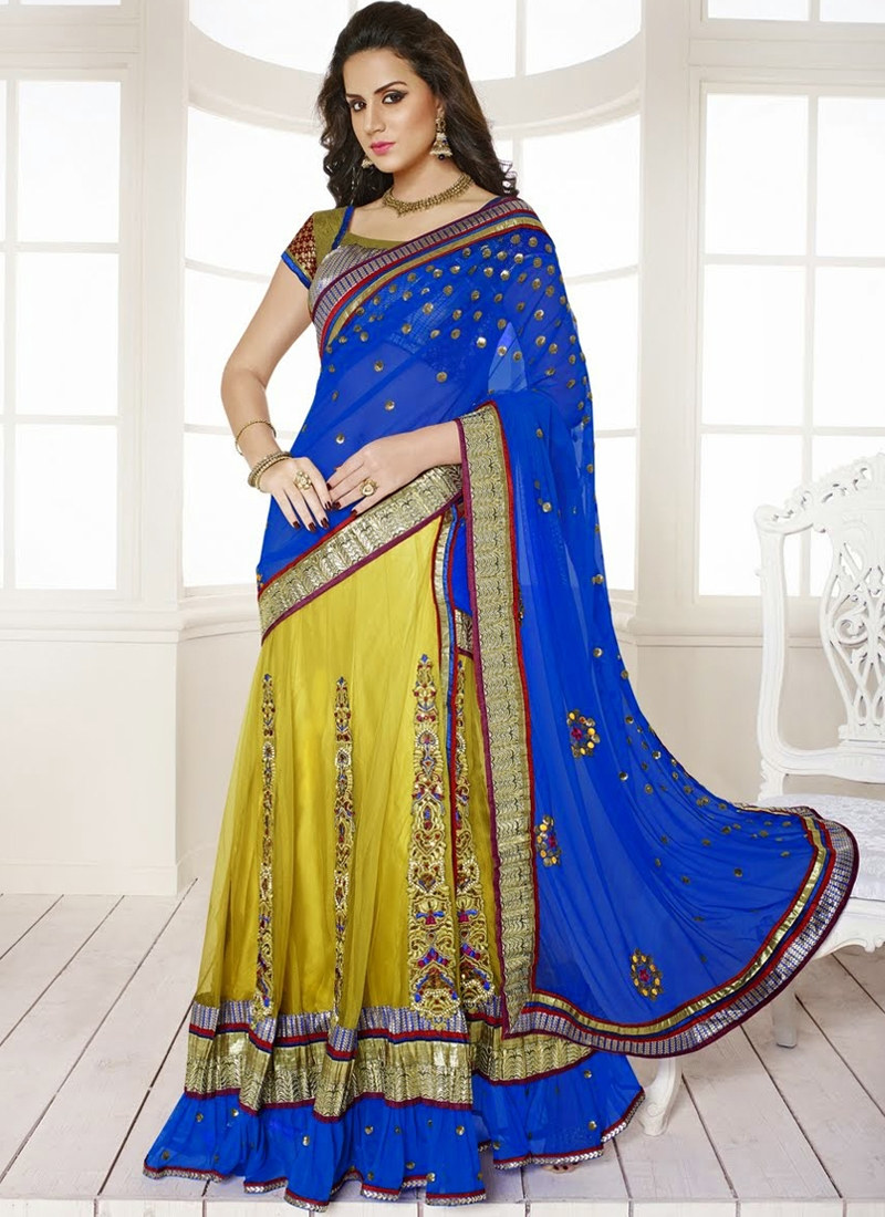 Chic Multi And Booti Enhanced Lehenga Saree