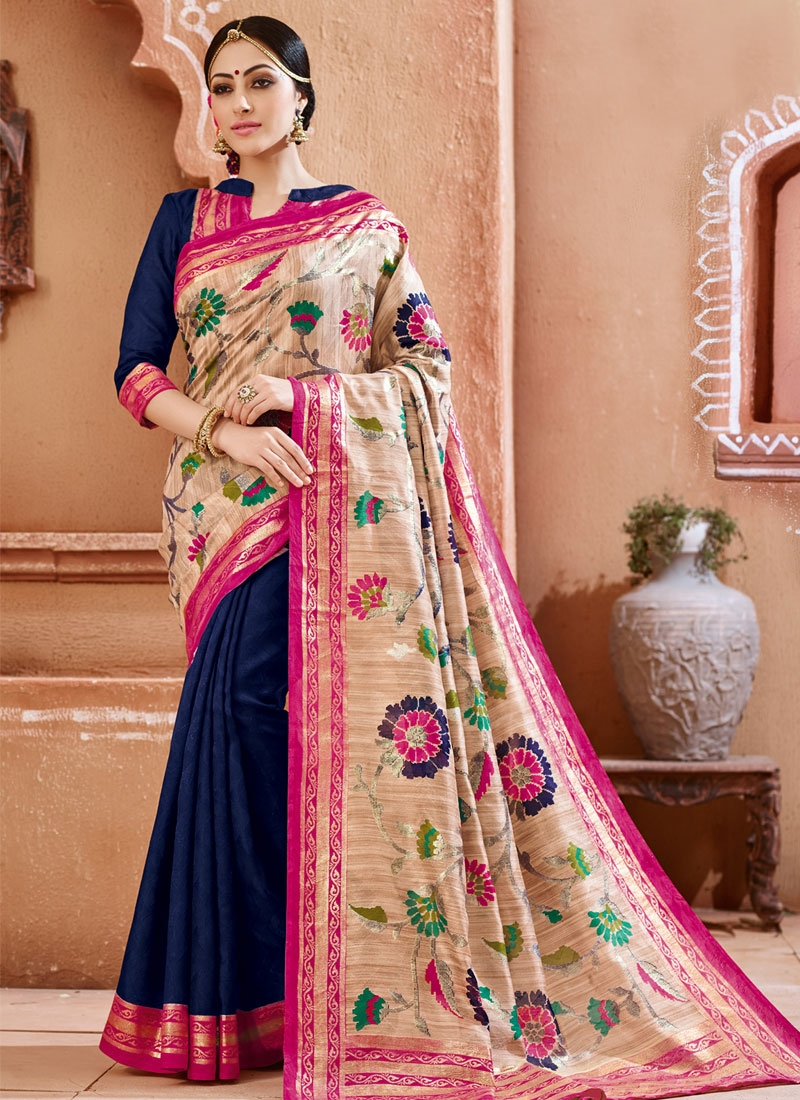 Chic Navy Blue And Beige Color Half N Half Casual Saree