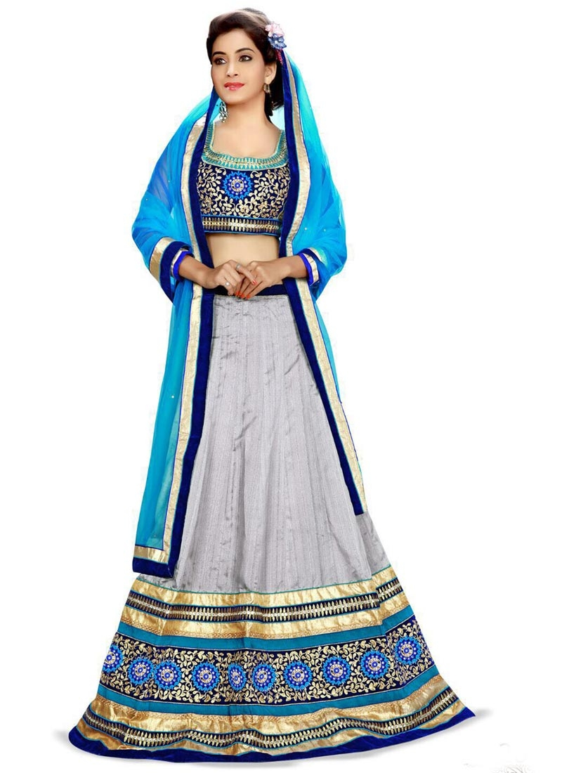 Chic Patch Border Work Silver Color Designer Lehenga Choli