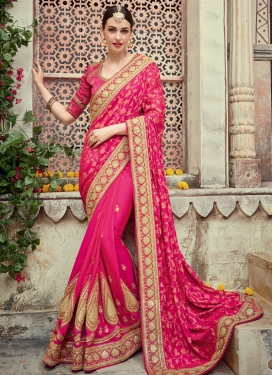 Chic Silk Georgette Beads Work Designer Contemporary Saree