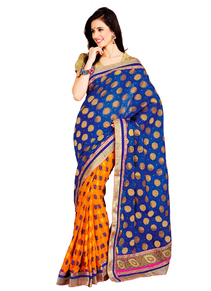 Chicken And Patch Enhanced Half N Half Saree