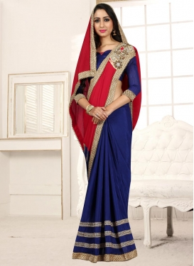 Chiffon Satin Beads Work Navy Blue and Red Designer Half N Half Saree