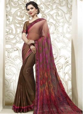Chiffon Satin Designer Traditional Saree For Ceremonial