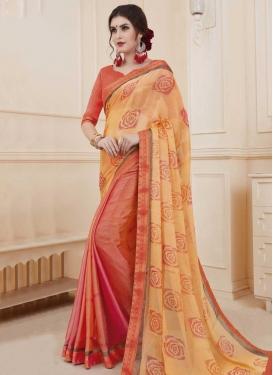 Chiffon Satin Digital Print Work Half N Half Trendy Saree