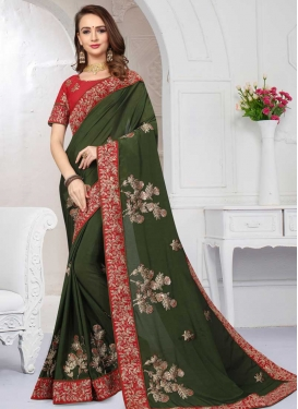 Chiffon Satin Embroidered Work Bottle Green and Red Contemporary Style Saree