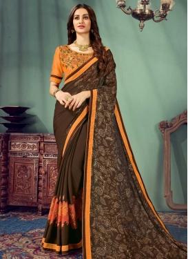 Chiffon Satin Embroidered Work Brown and Orange Trendy Classic Saree