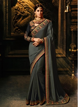 Chiffon Satin Embroidered Work Contemporary Saree