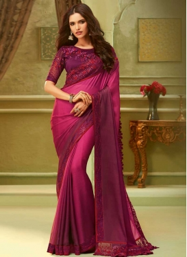 Chiffon Satin Embroidered Work Designer Traditional Saree