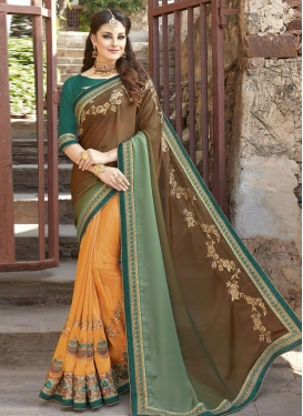 Chiffon Satin Embroidered Work Half N Half Designer Saree