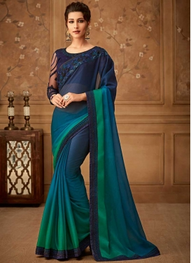 Chiffon Satin Green and Navy Blue Embroidered Work Trendy Classic Saree