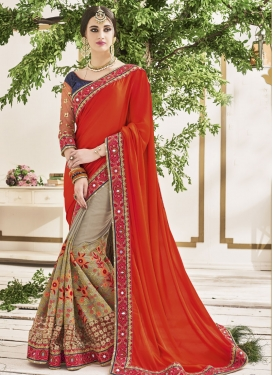 Chiffon Satin Half N Half Designer Saree For Ceremonial