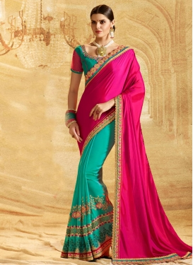 Chiffon Satin Half N Half Saree For Ceremonial