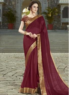 Chiffon Satin Lace Work Designer Contemporary Saree