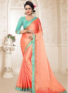 Chiffon Satin Lace Work Designer Contemporary Style Saree