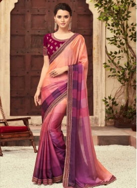 Chiffon Satin Magenta and Peach Traditional Saree
