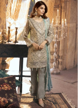 Chiffon Satin Pant Style Classic Suit For Festival