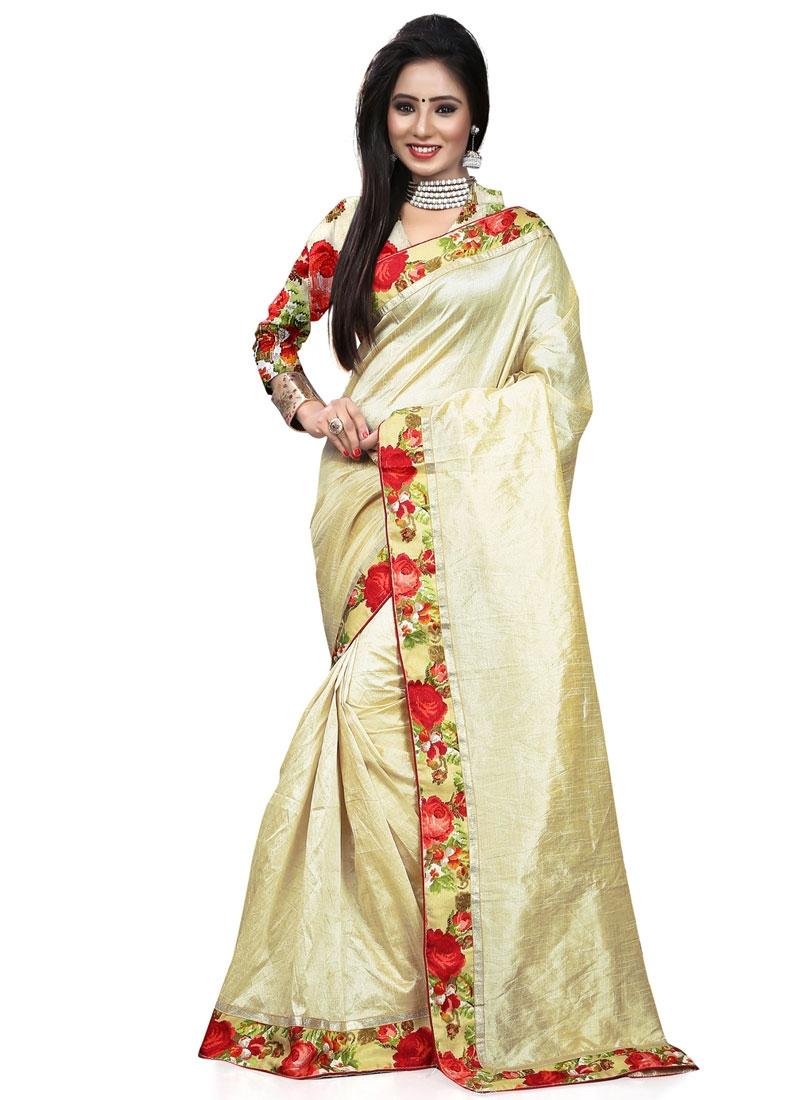 Classical Art Silk Cream Color Casual Saree